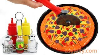 PlayDoh Pizza Velcro Cutting Baby Toys with Microwave Oven Nursery Rhyme Songs Fun for Kids