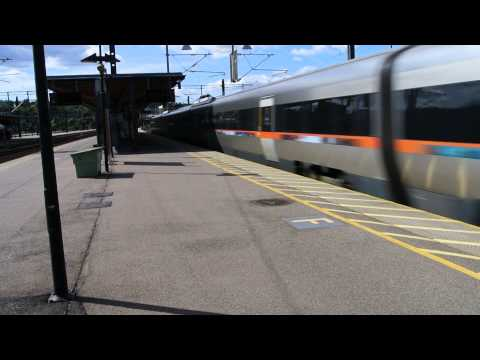 Flytoget (Airport Express Train) Class 71 passing Lillestrøm station.