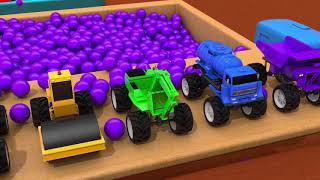Learn Colors with Construction Vehicle Toys and Remicon Nursery Rhymes for Kids