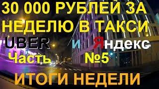 30 000 рублей за неделю в такси. Uber+Яндекс. Часть № 5: Суббота. Итоги недели.