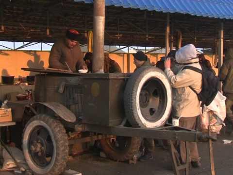 Кубанские казаки на въезде в Крым, близ села Чонгар