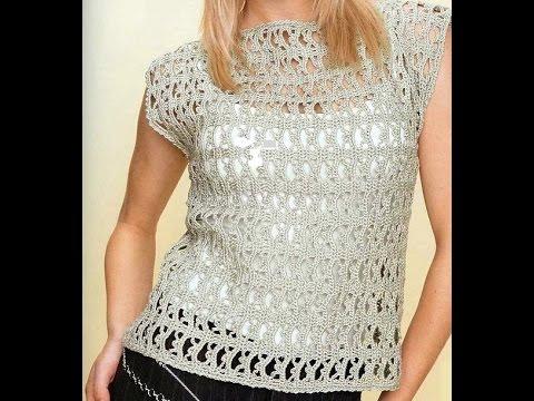 Blusa gris plata tejida vertical f cil bonita y r pido a - Jerseys faciles de hacer ...
