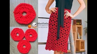 How to crochet easy motifs skirt for beginners free tutorial pattern all sizes