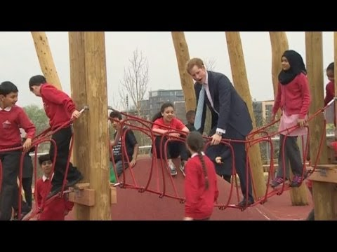Prince Harry and Boris play in the Olympic Park