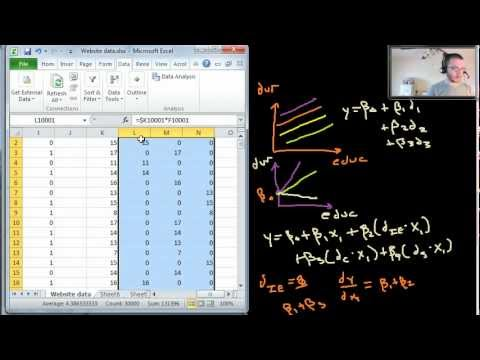 Multiple Regression - Dummy variables and interactions - example in Excel