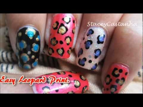 Easy Leopard Print Nail design tutorial :)