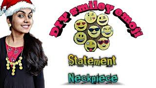 DIY Smiley Emoji statement neckpiece || DIY smiley Emoji  #diyneckpiece #statementneckpiece