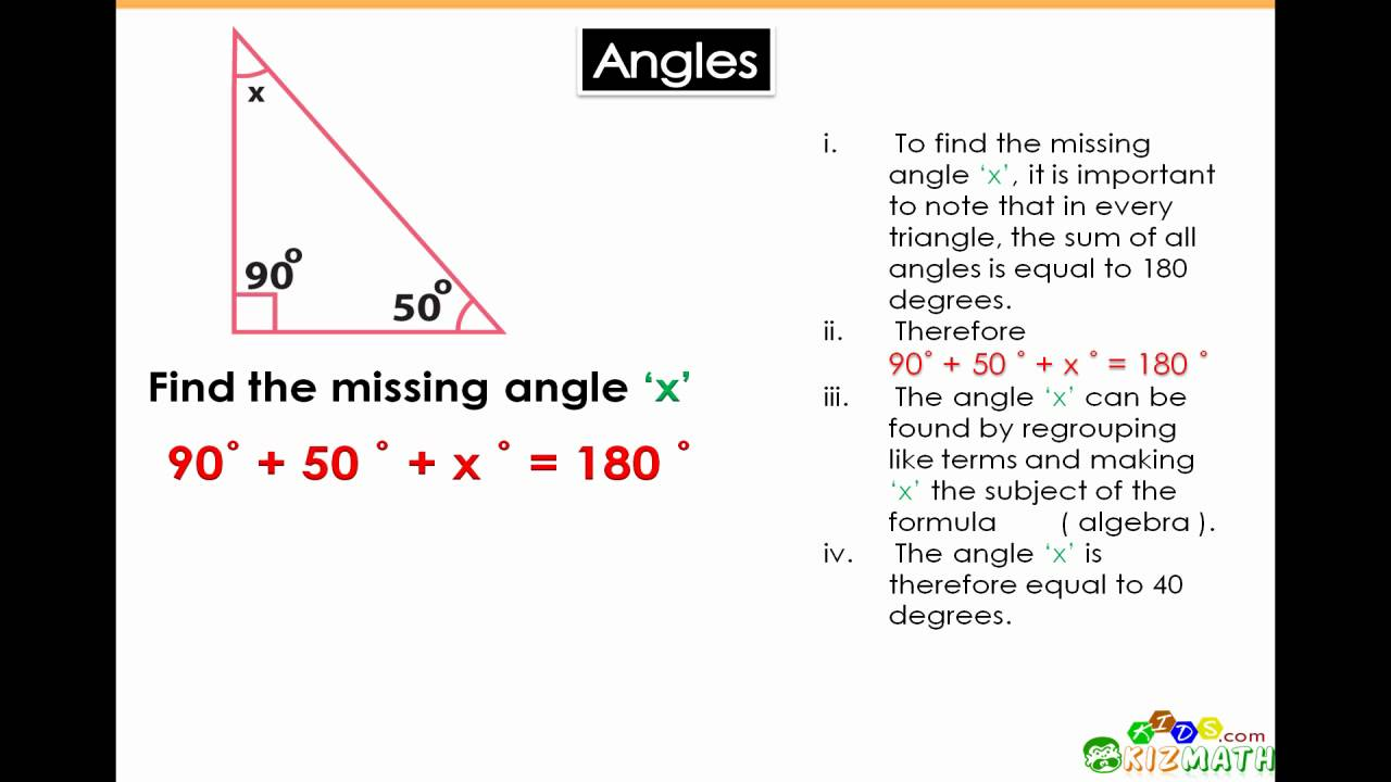 ... Finding the Angle of a Triangle - Math for 6th & 7th Grade - YouTube