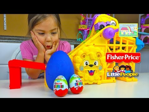 AMAZING LITTLE PEOPLE WHEELIES ROLLER COASTER Play Doh Surprise Egg Kinder Surprise Eggs Toy Review