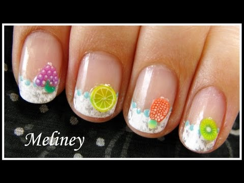 SUMMER NAIL ART FRUIT & FLOWER FIMO DESIGN   EASY KONAD FRENCH TIP Stamping Tutorial for Short Nails