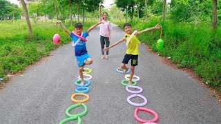 Kids go to School Make Toys with Balloons Fun Games and play Activities Song for Children