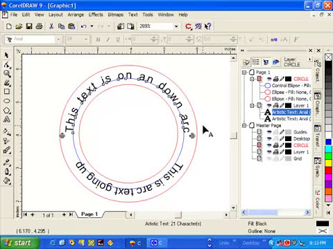 Arcing Text in CorelDraw