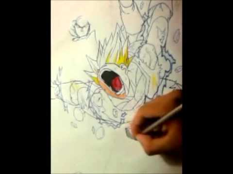 Dibujando a: Goku ssj2 vs majin vegeta - YouTube