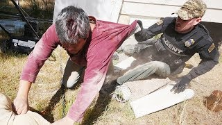 WANTED MAN FOUND HIDING UNDER HOUSE!