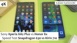 Sony Xperia XA2 Plus vs Honor 8x  ❗❗❗ | Speed Test |  Snapdragon 630 vs Kirin 710