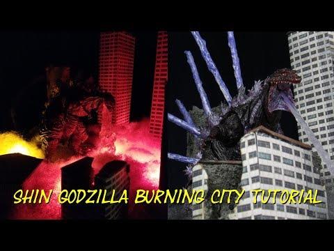 How To Make A Shin Godzilla Diorama- Burning City Display Tutorial