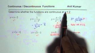 Continuous of Discontinuous Functions at a given point