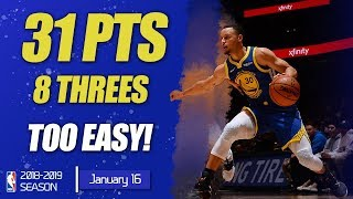 Steph Curry Mix Highlights   31 PTS & 8 THREES   GSW vs DEN   16.01.2019   MH