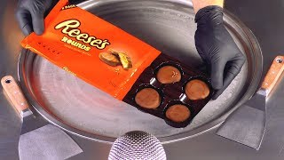 ASMR - Reese's Rounds Chocolate Cookies Ice Cream Rolls | oddly satisfying chopping & spreading ASMR