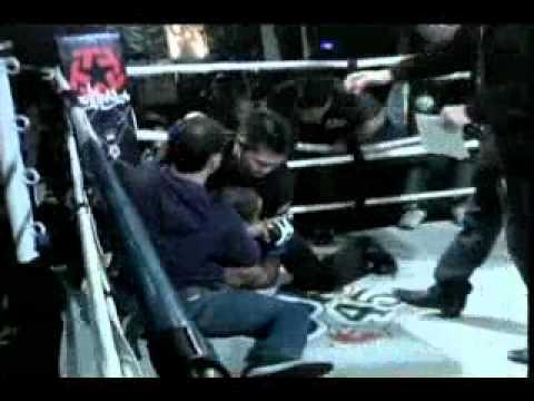 MMA Fighter attacks referee, referee fights back!