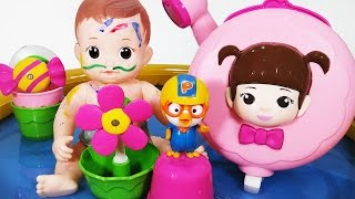 콩순이 꼬마 샤워기 장난감 물감놀이 콩콩이 아기인형 뽀로로 목욕놀이 baby doll bath playing SHOWER BATH PLAYSET