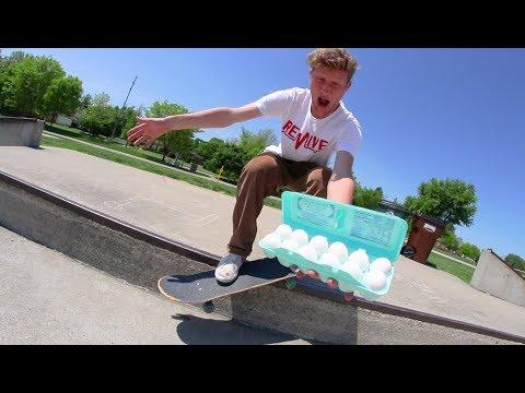 A Dozen Eggs Skateboarding Challenge! (Don't Break Any!)