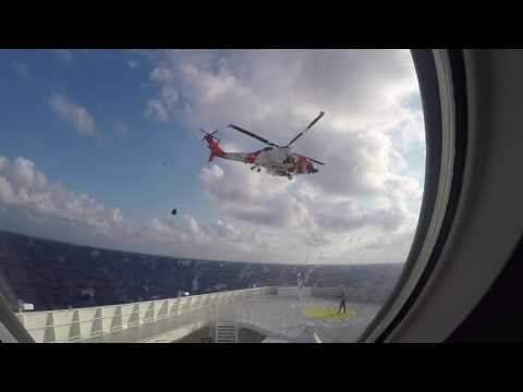 Coast Guard Rescue- footage taken from port hole in our room 7-25-16