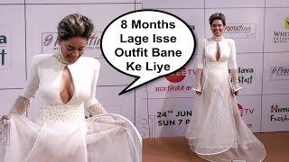 Nia Sharma In White Gown At Gold Awards 2018