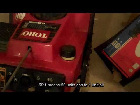 How to mix gas and oil for 2 stroke engines. Snowblower example.