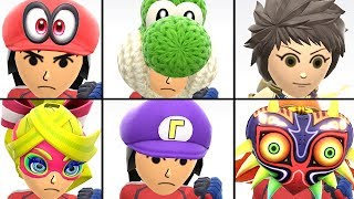 All Mii Costumes in Super Smash Bros Ultimate Unlocked + Rex DLC Outfit   Mii Fighters Customization