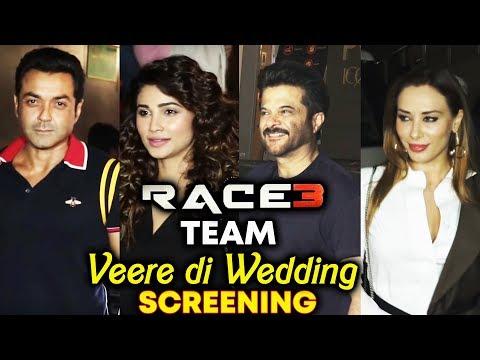 Race 3 Team At Veere Di Wedding Special Screening   Daisy Shah, Bobby Deol, Anil Kapoor thumbnail