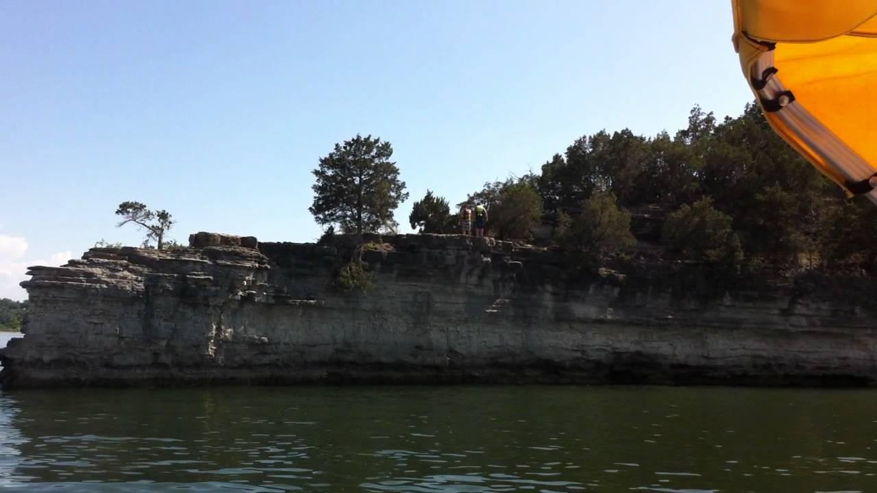 Cliff jumping table rock lake branson mo 2012 youtube for Table rock lake