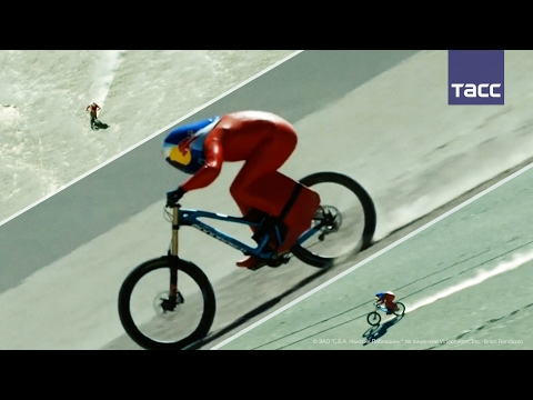 Австриец побил мировой рекорд по скоростному спуску на горном велосипеде по гравию