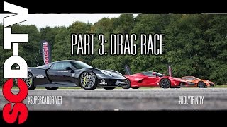 DRAG RACE LaFerrari v P1 v 918 Spyder   0-186 mph [Part 3/3]