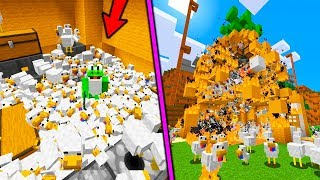 TROLLEANDO CON UN MILLON DE POLLOS... SERVIDOR CASI SE CAE | Surviland Mini Minecraft Episodio 20