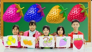 Kids Go To School Learn Colors with Draw Strawberry Fruit Finger FamilySongs For Children