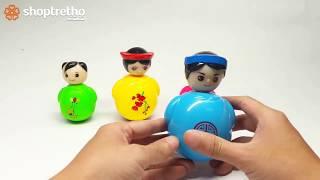 Bé chơi lật đật và đồ chơi súc sắc đáng yêu cho bé -  bộ đồ chơi gia đình lật đật