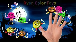 Halloween Pumpkin fruits finger family songs|fruits with finger family song|five little