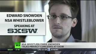 (Edward Snowden) defends privacy at SXSW  3/10/14