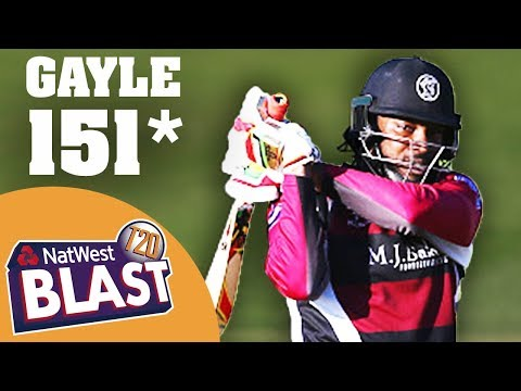 Watch Chris Gayle hit 151 not out in NatWest T20 Blast