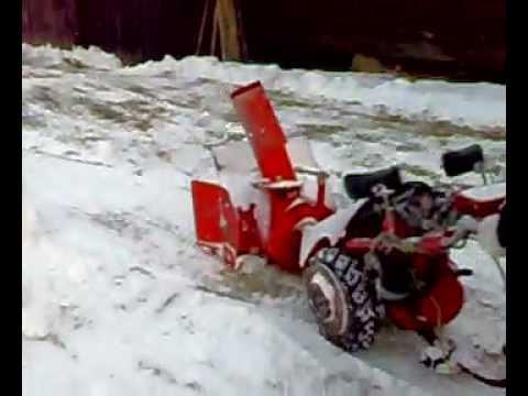 mf 70  traktorek   dzik  w akcji  pierwsza próba z dmuchawą do śniegu