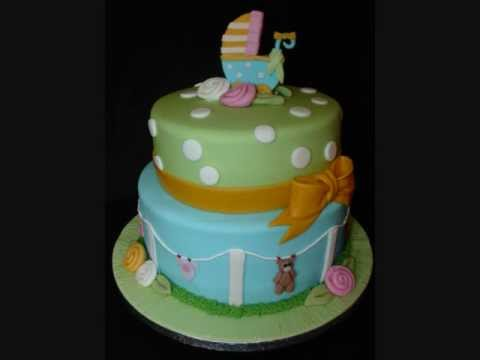 Unisex Baby Shower Cake Images : Unisex Baby Shower Fondant Cake - YouTube