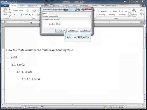 Create numbered multi-level heading styles - Word 2010
