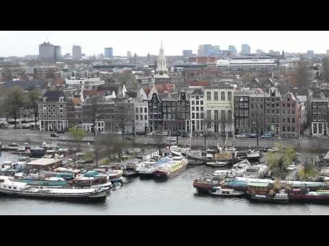 Skyline centrum stad Amsterdam city 1. Mooi uitzicht. HD video.