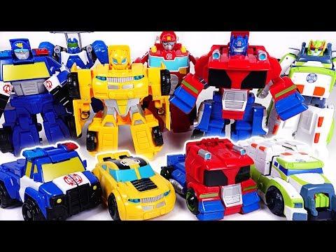 Dinosaur set a fire! Go! Transformers Rescue bots Optimus Prime, Bumblebee! - DuDuPopTOY