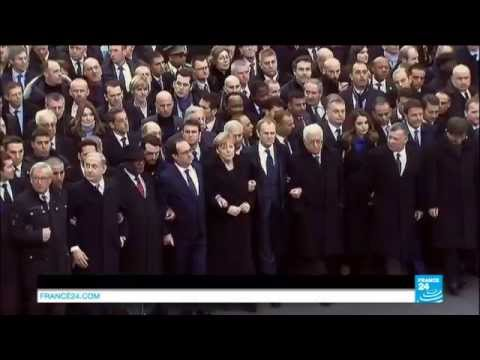 World leaders link arms to march in Paris and pay tribute to the victims - Paris Terror attacks