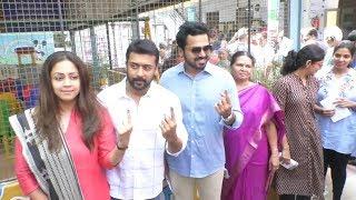 Actor Suriya Family Cast Vote in T Nagar   Sivakumar   Karthi   Jyothika   YOYO TV Tamil