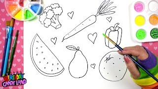 Drawing for Kids Fruits and Vegetables Drawing Pages 💜