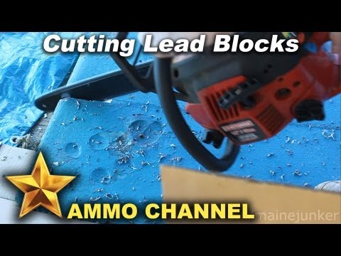 Cutting Lead with a Chainsaw - Salvaging heavy lead boat keel for bullet casting and reloading