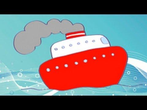 Dibujos de transportes para niños. Cómo dibujar un barco - YouTube